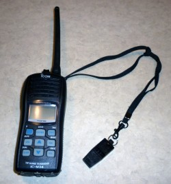 I attached one of the Slim Line 636 whistles to the lanyard on our handheld VHF radio.