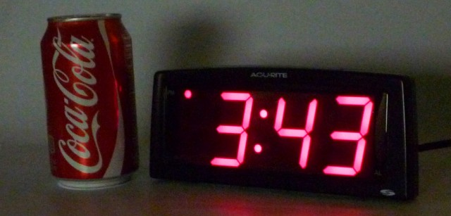 The Coke can should give you an idea of how big the display on this clock really is.