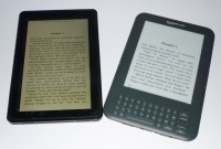 The Kindle Fire, left, has a bigger screen than the Keyboard model.