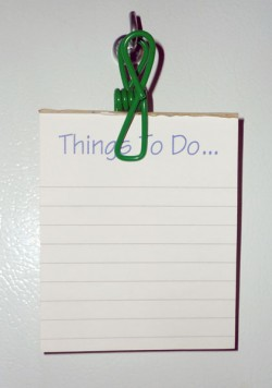 My magnetized notepad got used up. Now I just use my vinyl-coated clips to hang any old notepad on my fridge door.